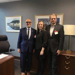 Senator Mohamed-Iqbal Ravalia, Katey Rayner and Tarik Moroy