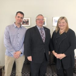 Vincent Archambault, MP Earl Dreeshen and Imogen Coe in Ottawa