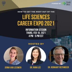 Life sciences career expo info session advertisement